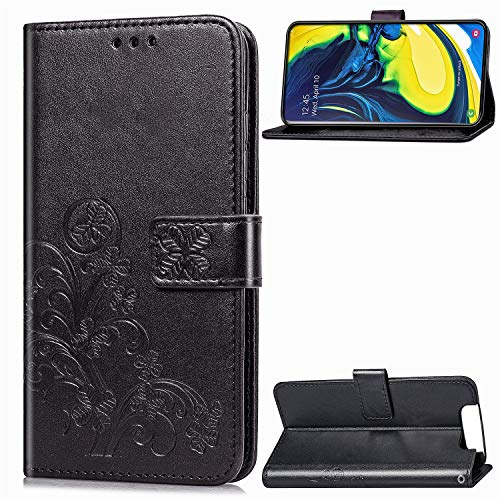 Leather Wallet Case for Galaxy A80, Flip Case Leather with Kickstand,Folio Magnetic Closure Protective Cover with Card Slots for Samsung Galaxy A80 - DESD050293 Black