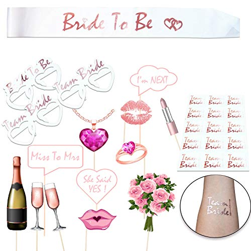 JGA Accessoires Frauen Fotorequisiten Team Braut Photo Booth Props für Den Junggesellinnenabschied Hen Party Rose Gold, Braut to be Scharpe und Tattoos fur Bachelorette Party und Bridal Shower