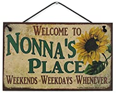 A very welcoming sign featuring a popular nickname for Grandma! Nonna will love it! It features a faux vintage style design with a wonderful Sunflower. The pattern was made to look older than it actually is. Easy to Hang: Simple black cord can hang a...