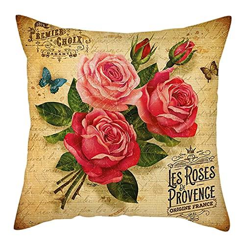 Fundas de Cojín Almohadas Decorativas con Estampado de Flores Rosas Fundas de Almohada con Mariposas y Hojas Florales decoración de otoño para el hogar Funda de cojín para sofá de Sala