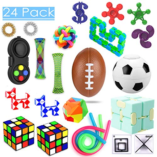 24 Pack Sensory Toys Set Relieves Stress and Anxiety Fidget Toy for Children Adults Special Toys Assortment for Birthday Party Favors Classroom Rewards Prizes Carnival Piata Goodie Bag Fillers