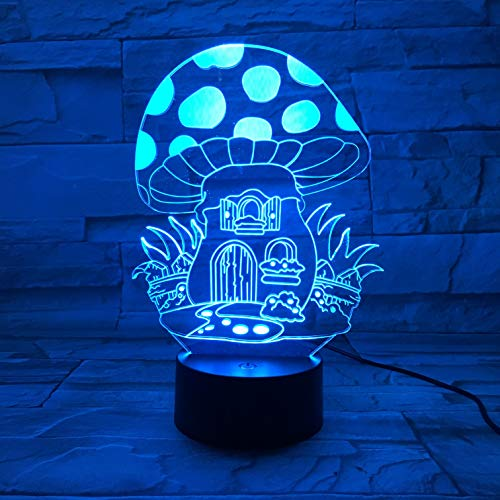 LWJZQT nachtlampje paddenstoelen schattige planten in de vorm van een lamp 3D licht LED USB mos nachtlampje meerkleurig touchscreen of afstandsbediening veelkleurig Bedroomable lamp