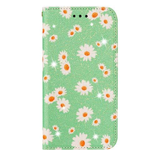 BAILI Lederhülle für Samsung Galaxy S20 Lite Hülle,Tasche Cover Etui Handyhülle für Samsung Galaxy S20 Lite,Flip Hülle für Daisy Flowers Handyhülle,Grün