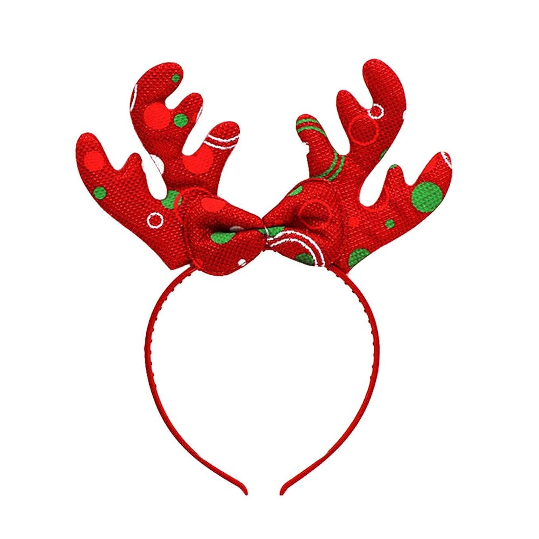 人類悪夢みがきますBESTOYARD トナカイアントラーズヘッドバンドクリスマスデコレーションヘッドドレスヘアフープコスチュームヘアアクセサリー(ランダムカラー)