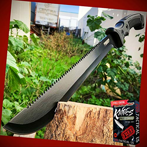 """New 15.5"""" inch HUNTING SURVIVAL FIXED BLADE MACHETE Tactical ProTactical Knife Rambo BOWIE Camping BA-1025kn + Free eBook by PrTac-US"""