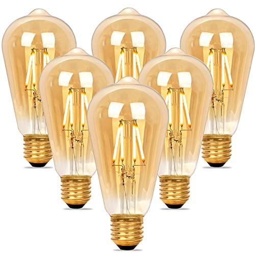 Lampadina LED Dimmerabile Vintage Edison, Luce Bianco Caldo E27 ST64, Lampadine di Filamento 4W...