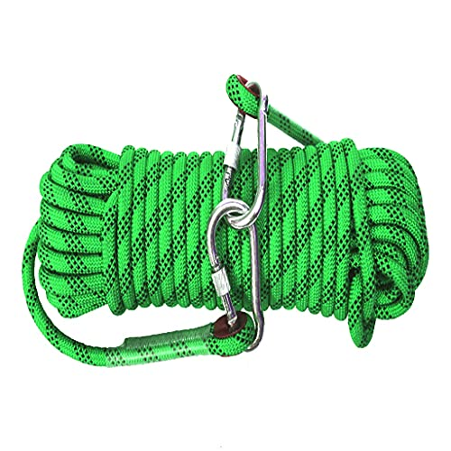 rock climbing ropes QHY Rock Climbing Rope 16mm Nylon Rope High Strength Cord Safety Braid Rope All-Purpose Braided Rope with 2 Steel Hooks for Escape Rescue Camping Climbing (Color : Green, Size : 40m16mm)