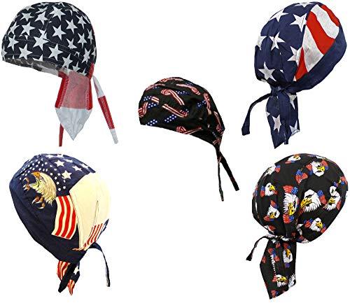 American Flag Doo Rag Patriotic Skull Caps Eagle Stars and Stripes Red White Blue Black