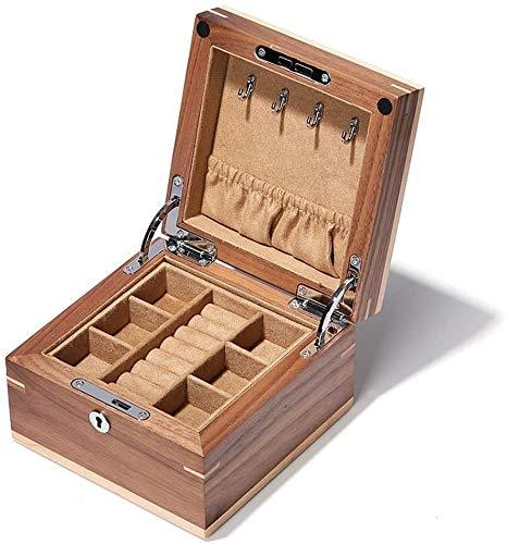 NANI Jewelry Box, Collana Anello dell'organizzatore di immagazzinaggio del doppio, con la serratura a doppio strato multifunzionale di vigilanza di bagagli con vano come regalo Guarda scatole (Dimensi