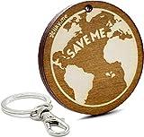 LIKY Mundo Sálvame - Llavero Original de Madera Grabado Amuleto de la Suerte Talisman Regalo Mujer Hombre cumpleaños pasatiempo joyería Colgante Bolso Mochila