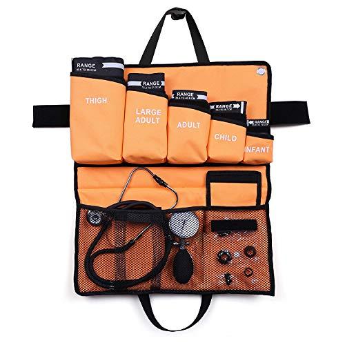 LotFancy 5 en 1 Esfigmomanómetro Aneroide Profesional con Doble Estetoscopio y 5 Puños de Tamaño, Tensiometro Monitor Manual de Presión Arterial Manual para Adultos, Niños con Estuche PortátiI