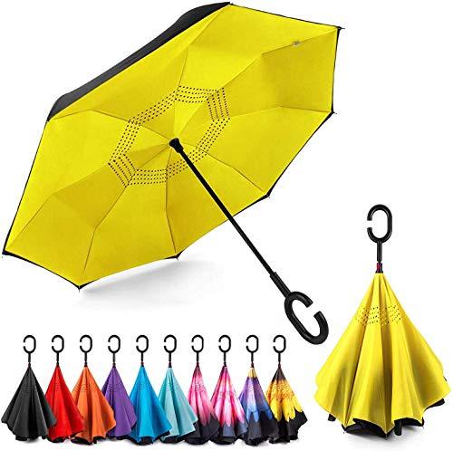Omgekeerde winddichte paraplu ondersteboven paraplu's met C gevormde handvat voor vrouwen en mannen binnenstebuiten opvouwbare paraplu#sa214