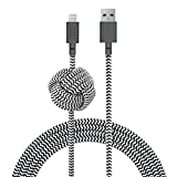 Native Union Night Cable - 3 Metres Ultra-Robusto Reforzado [Certificado MFi] Cable de Carga Lightning a USB con Nudo Lastrado (Zebra)