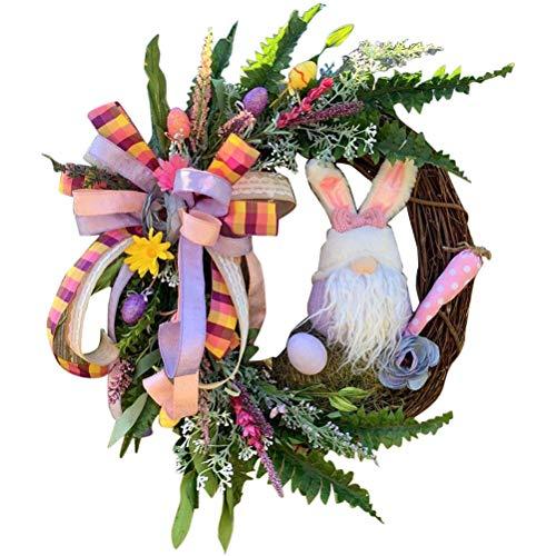 Decoraciones para Puertas de Pascua Conejitos Guirnalda de Orejas y glúteos, Primavera de Pascua Colgante para Exteriores Letrero de Bienvenida Guirnalda Apéndice Suministros para Manualidades