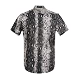 MCULIVOD Men's Python Leopard Print Short Sleeve Shirts Snakeskin Hawaiian Casual Tropical Disco Button Down Shirt Gray
