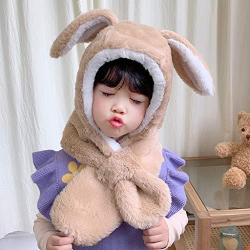 SJYDQ Oídos de Conejo de Felpa Sombrero de Invierno para niña niña niño Bufanda Ajustable Gruesas Orejeras Grifo Proteger Cara Cuello cálido (Color : Khaki)