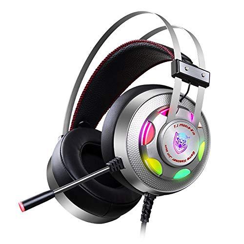 ZENWEN Computer Gaming Headset, E-Sport LED Streamer Infinity Schwamm Ohrenschützer Smart Wire Control System Headset USB Kabel Bass Stereo Headset Mikrofon