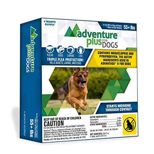 Adventure Plus Flea Prevention for Dogs, Topical Flea Treatment and Control (4 Dose, X-Large (55+ lb))