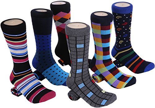Marino Mens Dress Socks - Fun Colorful Socks for Men - Cotton Funky Socks - 6 Pack (Spunky Collection, 10-13)