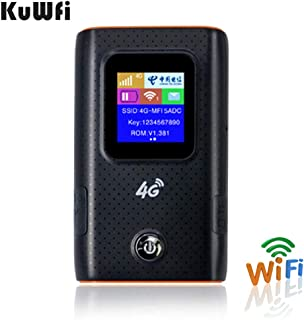 KuWFi 4G WiFi Router Pocket Travel Partner 4G LTE Wireless Wi-fi Routers Power Bank with Sim Card Slot LCD Display Easy to Carry in Hand Outdoor (Black)