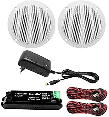 Herdio 160W 4 Inch Ceiling Speaker Kit Amplifier Water Resistant Ceiling Speakers For Bathroom Kitchen Home Outdoor by Herdio