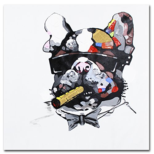 Muzagroo Art Oil Painting Smoking Dog Cool Art Hand Painted on Canvas Art for Living Room (24x24in, Smoking Dog 1)