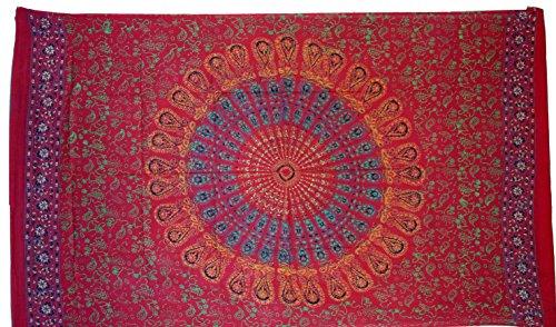 Guru-Shop, Dunne Doek, Sarong, Mandala Wall Hanging, Wikkelrok, Sarong Jurk, Rood/paars, Size:One Size, 160x100 cm, Gedrukte Doeken