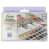 Lefranc & Bourgeois 601661 - Caja de 24 acuarelas con paleta desmontable, multicolor