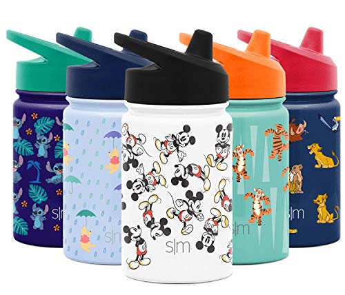 Simple Modern 10oz Summit Sippy Cup for Toddlers - Infant Water Bottle Vacuum Insulated Cups Double Wall Kids Hydro Travel Mug 18/8 Stainless Steel Flask Disney: Mickey Mouse Retro