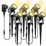 Gartenleuchte Gartenstrahler Led, NATPOW 6 in 1 Gartenbeleuchtung mit Erdspieß, IP65 Wasserdicht LED Gartenstrahler mit Stecker Scheinwerfer Gartenlampe Wegbeleuchtung Außenbeleuchtung Warmweiß