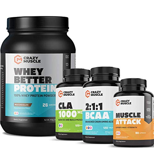 Get Ripped Stack (4 Supplement Bundle) by Crazy Muscle: Shred Weight - Build Lean Muscle - Cutting Stacks & Bundles Can Be Used PreWorkout/Post Workout for Men and Women - 356 Pills & Powder Pack