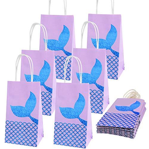 Meerjungfrau Geschenktüten (20 Stk) - Papiertüten mit Henkel (11x8x20cm) – Papier Party Tüten Partytüten für Geburtstag, Geschenk, Hochzeit, Kindergeburtstag, Gastgeschenk, Mitgebsel, Geburtstagstüten