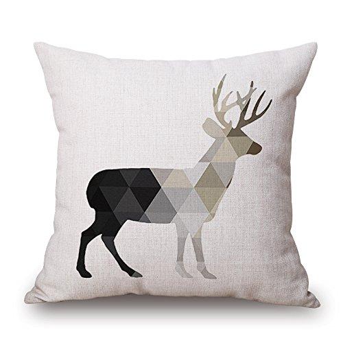 Elliot_yew Blanc Noir et animal européen parcimonieux design Taie Coussin décoratif couvre les cas Taie d'oreiller pour Couch Accueil Décorations Canapé 18inchx18inch-renne