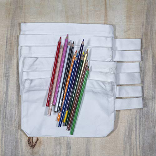 Canvas Pencil Pouch - White Pencil Bags with Zipper - Extremely Sturdy & Organic Cotton Canvas Pencil Case - Fabric Zipper Pouch | Set of 4 Bags of 12 Oz Each