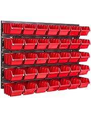 Opbergsysteem wandrek 576 x 390 mm, 35 stuks box, stapelboxen opbergkast, extra sterke wandplaten, uitbreidbaar, werkplaatsrek, opslagrek, werkplaatswandrek, insteekrek