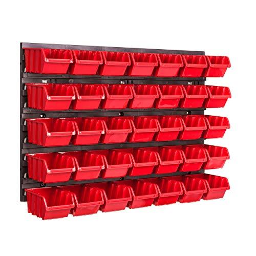 Lagersystem Wandregal 576 x 390 mm, 35 stck. Box, Stapelboxen Schüttenregal Sichtlagerkästen, Extra Starke Wandplatten, Regal Erweiterbar, Werkstattregal Lagerregal Werkstattwandregal Steckregal
