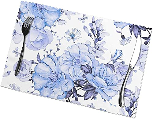 Juego de 4 manteles Individuales Blue Flower Art para 12 x 18 Pulgadas Manteles Individuales Lavables Resistentes al Calor Manteles Individuales Antideslizantes de poliéster