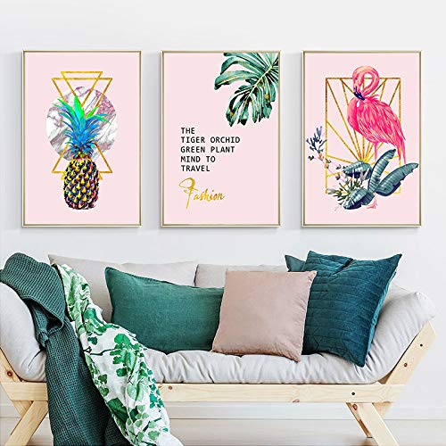 WEDSA Mural Canvas Painting Poster Decoración del hogarFlor Piña Leaf Wall Art Canvas Poster Pink Print Painting Escandinavian Decoration Picture Living Room 40x60cmx3 Sin Marco