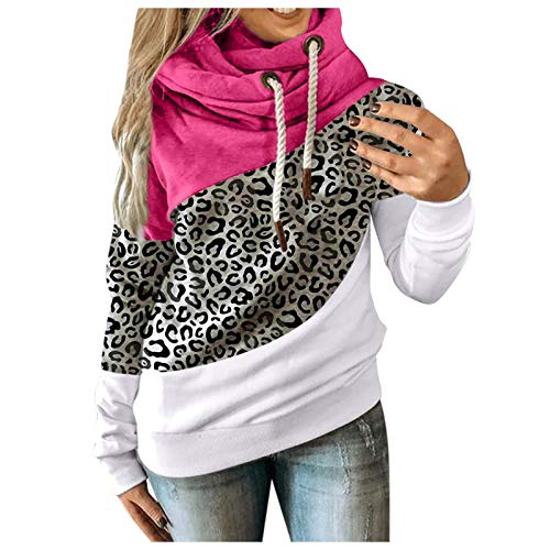 VEKDONE Women Plus Size Cowl Neck Color Block Striped Tunic Sweatshirt Drawstring Loose Hoodie Pullover Casual Tops Hot Pink