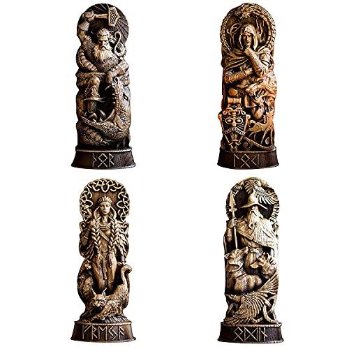 Estatua de Resina de Dios nórdico,panteones escandinavos,estatuilla de Dioses nórdicos,artesanía,mitología vikinga,Vitrina de Vino para el hogar,estantería para Libros,Escultura,oramento,esc