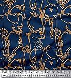 Soimoi Blau Baumwolle Ente Stoff Jugendstil-Elemente