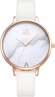SK Fashion Ladies Watches Leather Female Quartz Marble Dial Watch Women Thin Casual Strap Watch