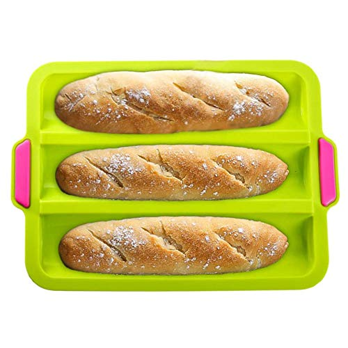 Baguette Baking Tray Non-stick Perforated Pan Bread Crisping Tray Loaf Baking Mould French-bread Breadstick and Bread Rolls with Delicious Crispy Crusts, Green