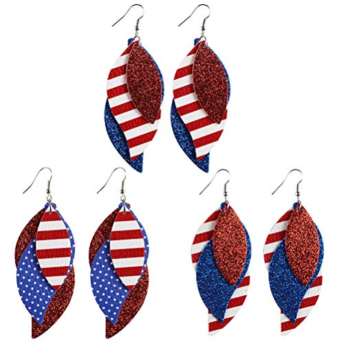 ABOOFAN 3 Pairs of Independence Day Eardrop the American National Flag Printing PU Leather Eardrop Decorative Earrings for Woman ( Red and Blue, Random Style )