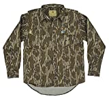 Mossy Oak Cotton Mill 2.0 Long Sleeve Camo Hunting Shirts for Men, Large, Original Bottomland