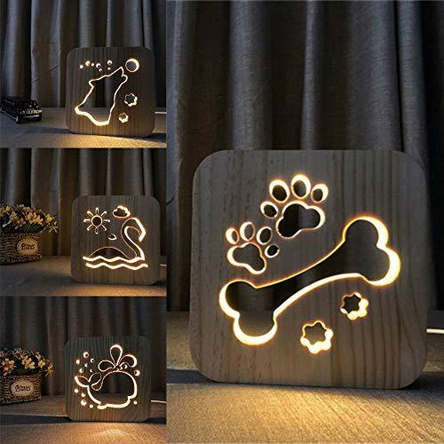 Solo 1 pieza lámpara de pata de perro de madera decoración de dormitorio de niños luz cálida bulldog francés francés LED niños USB luz de noche regalo