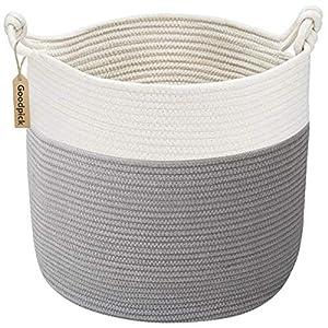 crib bedding and baby bedding goodpick cotton rope basket with handle for baby laundry basket toy storage blanket storage nursery basket soft storage bins-natural woven basket, 15'' × 15'' × 14.2''