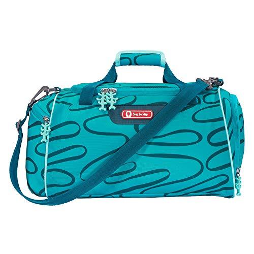 """Step by Step Sporttasche """"Happy Turtle"""", blau-türkis, mit Nasswäschefach, Abnehmbarer Tragegurt, Verstellbarer Schultergurt, für Mädchen 1. Klasse, 13L"""