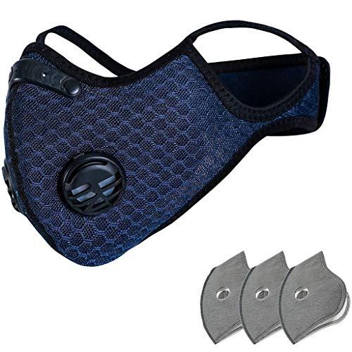 Covermason 1/2/4/10 Stück Mund und Nasenschutz mit Ventil Filter Mundbedeckung Schwarz Mund Schutz Wiederverwendbar
