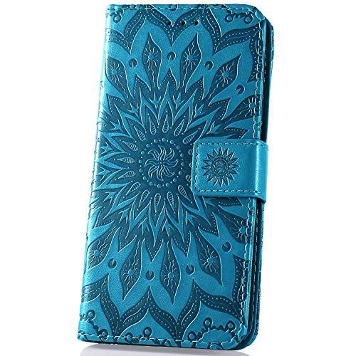 JAWSEU PU Lederen Zon Bloem Patroon Case Compatibel met Xiaomi Redmi Note 7 Blauw